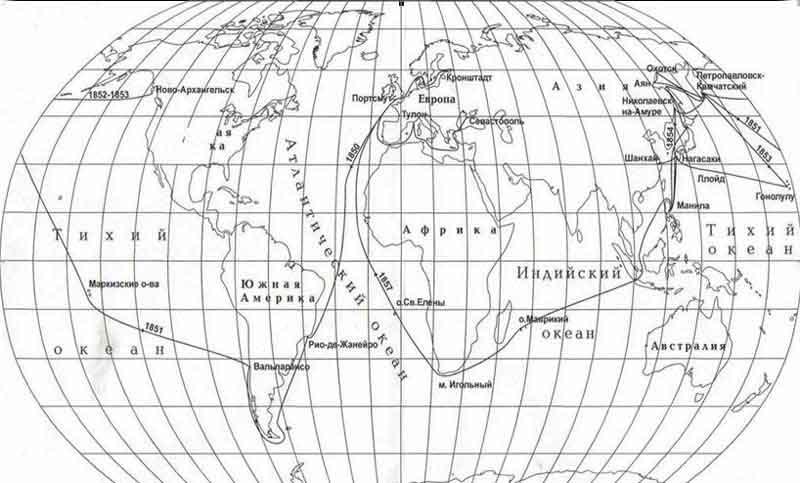 """Карта кругосветного плавания корвета """"Оливуца"""""""