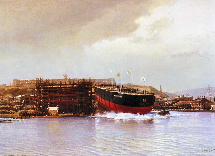 """Спуск на воду эскадренного броненосца """"Чесма"""", 1886 г."""
