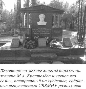 Памятник на могиле вице-адмирала-инженера М.А. Крастелёва и членов его семьи, построенный на средства, собранные выпускниками СВВМИУ разных лет