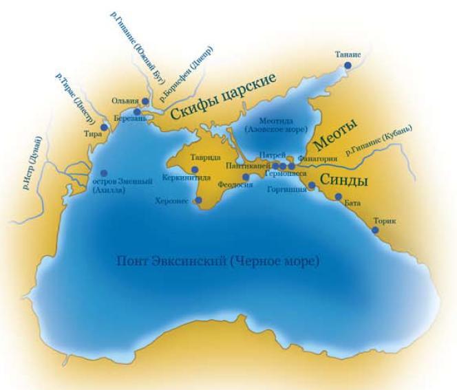 Карта-схема расположения древнегреческих городов в Северном Причерноморье в античную эпоху