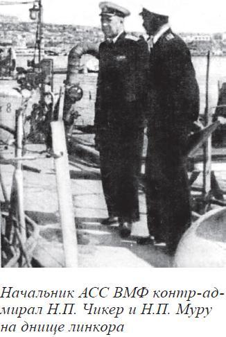 Начальник АСС ВМФ контр-ад- мирал Н.П. Чикер и Н.П. Муру на днище линкора