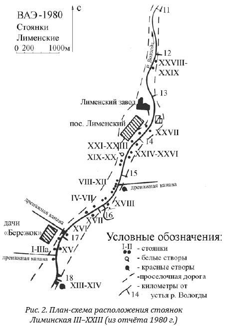 План-схема расположения стоянок Лиминская III–XXIII (из отчёта 1980 г.)