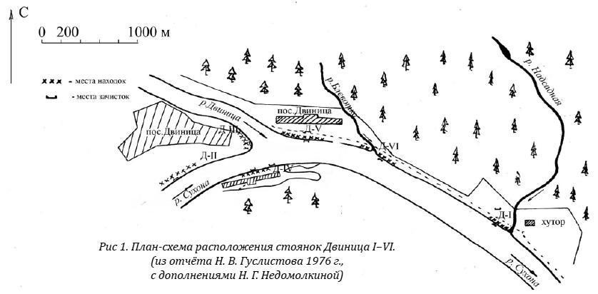 План-схема расположения стоянок Двиница I–VI. (из отчёта Н. В. Гуслистова 1976 г., с дополнениями Н. Г. Недомолкиной)