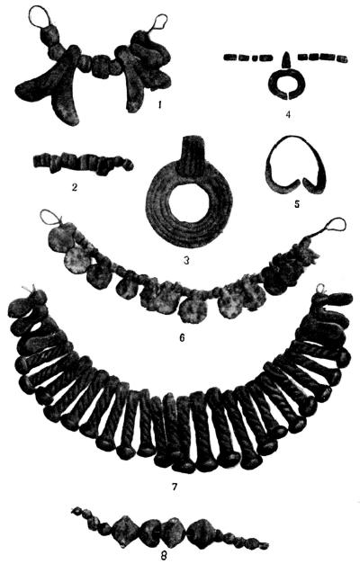 Бронзовые украшения катакомбной культуры, найденные при погребениях