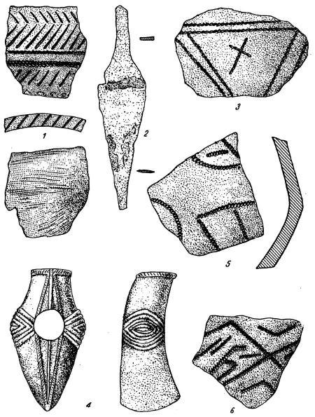 Керамика и орудия из курганов Северного Приазовья 1—3 — с. Каракуба; 4—6 — с. Бешево