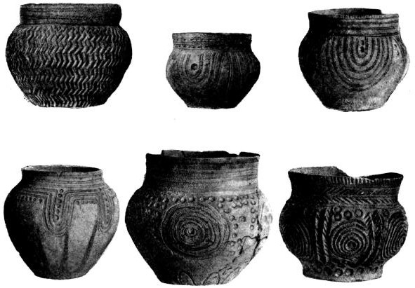 Керамика с орнаментацией, характерной для донецкого варианта катакомшшй культуры, найденная в курганах в бассейне р. Северного Донца