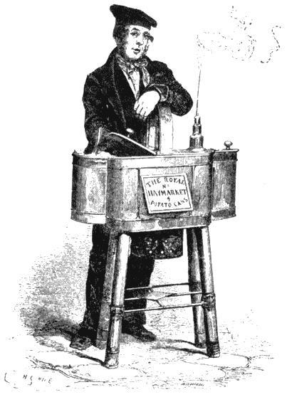 Торговец печеным картофелем. Рисунок из книги Генри Мэйхью «Рабочие и бедняки Лондона». 1861–1862