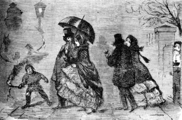 Лондонский туман. Рисунок из журнала «Панч». 1853