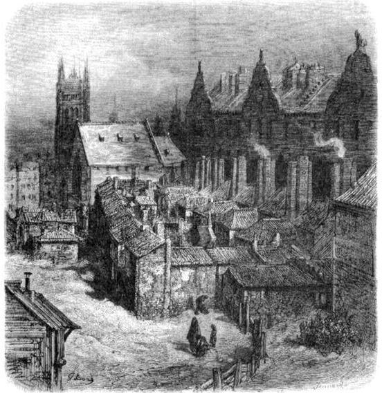 Трущоба «Акр Дьявола» возле Вестминстерского аббатства. Рисунок Гюстава Доре из книги «Паломничество». 1877