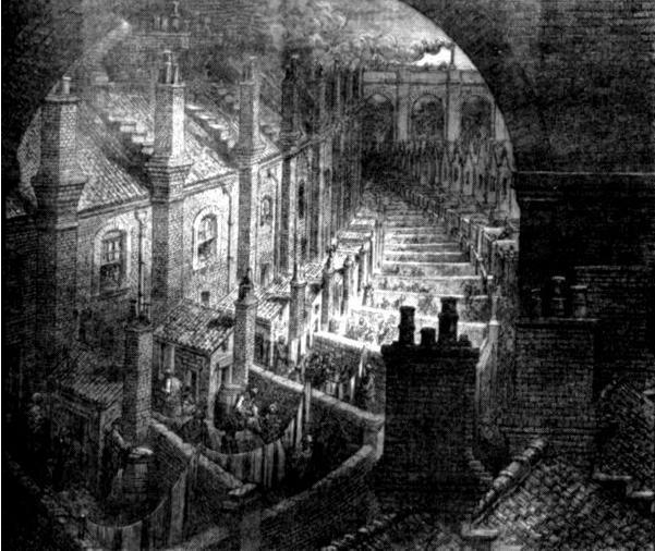 Задние дворы в лондонских трущобах. Рисунок Гюстава Доре из книги «Паломничество». 1877