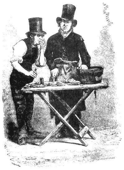 Торговец устрицами. Рисунок из книги Генри Мэйхью «Рабочие и бедняки Лондона». 1861–1862