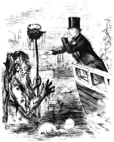 Майкл Фарадей вручает свою визитку Грязнуле Темзе. Карикатура из журнала «Панч». 1855