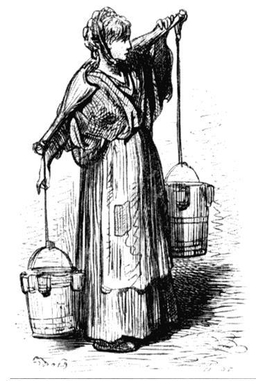 Молочница. Рисунок Гюстава Доре из книги «Паломничество». 1877