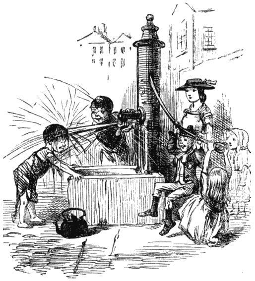 Дети играют у городского насоса. Рисунок из журнала «Панч». 1860