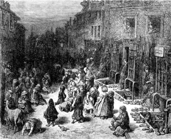 Дети трущоб. Рисунок Гюстава Доре из книги «Паломничество». 1877