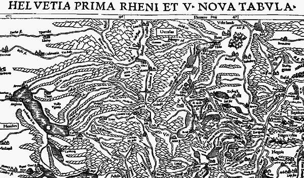 Карта европейской Швейцарии, приписываемая «античному» Птолемею. Из «Географии» Птолемея