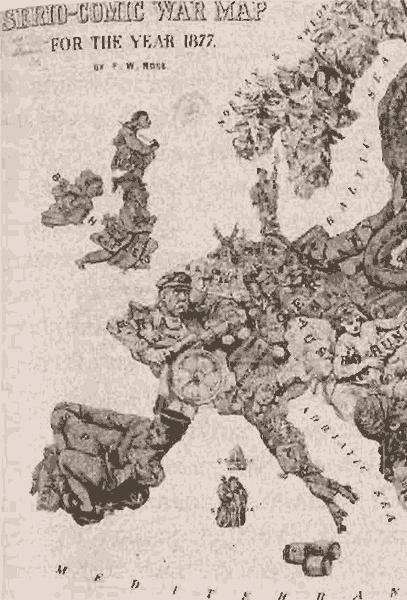 Карта Европы, изданная в Англии в 1877 году