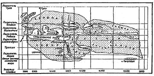 Карта мира, известного при Эратосфене.