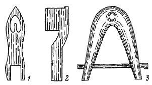 Инструменты для вязания сетей: 1 — игла; 2 — мерка; 3 — вешалка-крючок