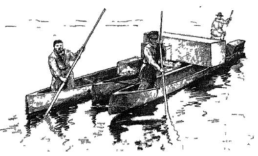Строенные баты-паром для перевозки грузов, р Ковран, 1911 г (по В И Иохельсону)