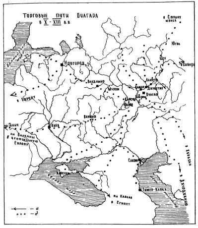 Схема пути из Булгара в Киев по археологическим наблюдениям 1989-199I гг.