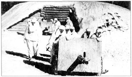 Артиллерийский расчет выкатывает на позицию 45 мм пушку образца 1941 года. Подобные артсистемы выпускали в осажденном Ленинграде, устанавливая танковое 45-мм орудие образца 1932 года на артиллерийский лафет. Ленинградский фронт, декабрь 1942 года (АБЛ )
