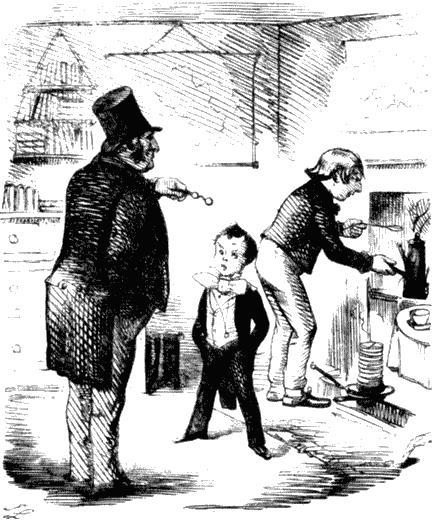 Ученик частной школы. На заднем плане его «слуга» готовит ему чай. Карикатура из журнала «Панч». 1858
