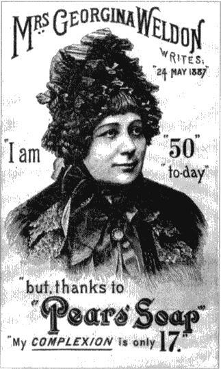 """Миссис Уэлдон на рекламе мыла «Пирс»: «Мне 50, но благодаря мылу """"Пирс"""" я выгляжу на 17!» Рисунок из журнала «Иллюстрированные лондонские новости». 1888"""