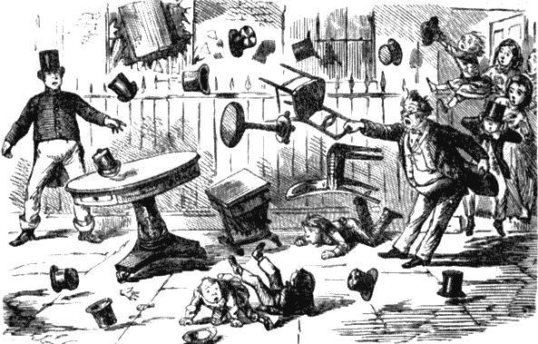 Столоверчение. Карикатура на спиритов из журнала «Панч». 1852