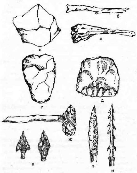 Орудия каменного века: а — эолит, б — палка-копалка, в — дубинка, г — рубило, д — скребло, е — остроконечники, ж — каменный топор, з — копье с каменным наконечником, и — гарпун с костяным наконечником