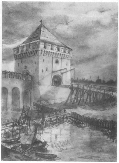 Башня Кутафья — отводная стрельница Московского Кремля. Конец XV — начало XVIв