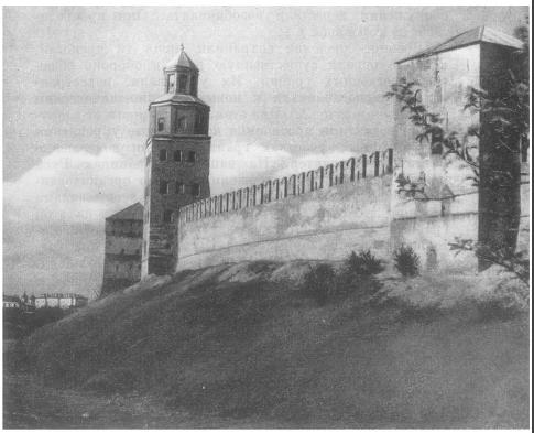 Новгородский Кремль. Стены и Пашни полностью перестроены в конце XV в. Высокая Пашня Кокуй надстроена в XVII в