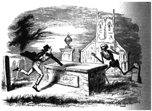 Сцена на кладбище. Рисунок из «Энциклопедии острот и юмора». 1864