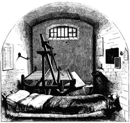 Камера в тюрьме «Пентонвилл». Рисунок из книги Генри Мэйхью «Криминальные тюрьмы Лондона и сцены тюремной жизни». 1862