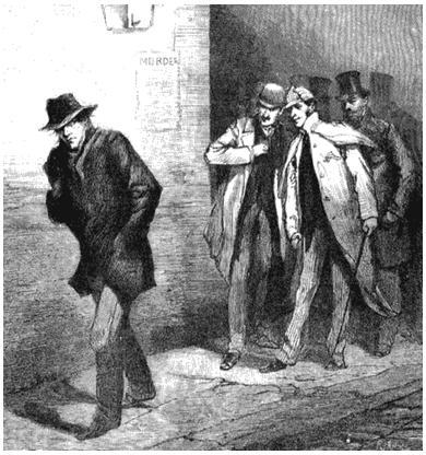 Дружинники и подозрительный тип. Рисунок из журнала «Иллюстрированные лондонские новости». 1888