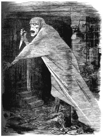 Призрак из трущоб. Рисунок из журнала «Панч». 29 сентября 1888 года