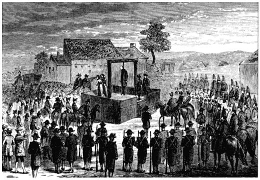 Повешение графа Феррерса (гравюра XVIII века неправильно изображает процесс повешения). Рисунок из книги Уильяма Эндрюса «Наказания былых времен». 1899