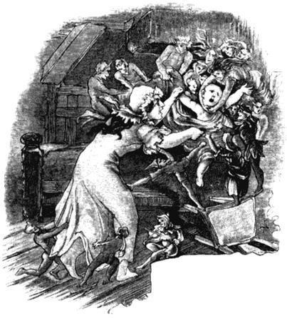 Фейри уносят ребенка. Иллюстрация из книги Уирта Сайкса «Британские гоблины». 1881