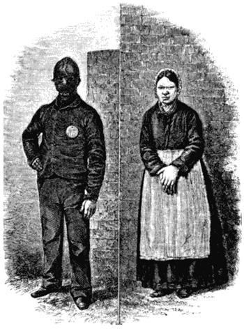 Арестант Пентонвилла и арестантка Миллбэнка. Рисунок из книги Генри Мэйхью «Криминальные тюрьмы Лондона и сцены тюремной жизни». 1862