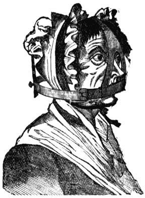 Женщина в наморднике. Рисунок из книги Уильяма Эндрюса «Наказания былых времен». 1899