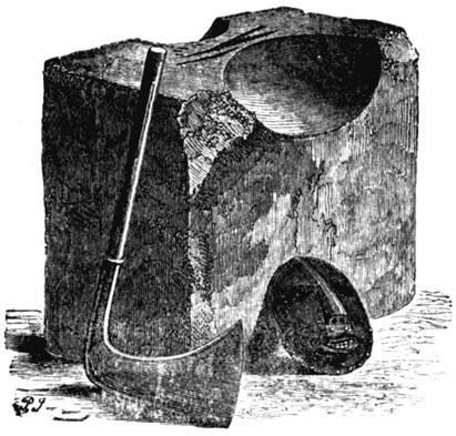 Топор, плаха и маска палача. Рисунок из книги Уильяма Эндрюса «Наказания былых времен». 1899