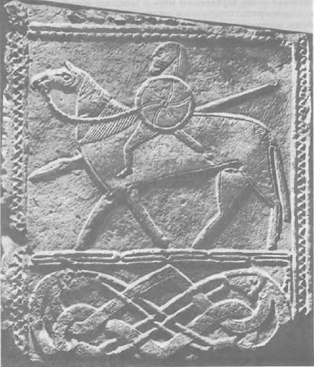 Всадник с вооружением германского воина. Рельеф на камне из Хорнхаузет. Музей Галле