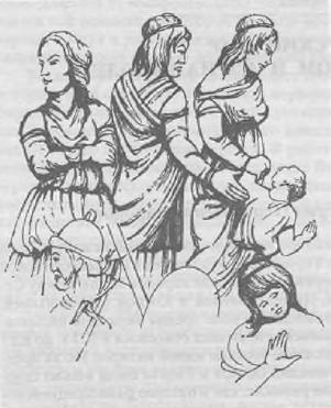 Германские женщины. Реконструкция с рельефа колонны Марка Аврелия в Риме