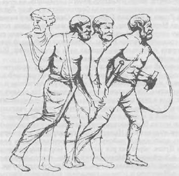 Германские воины. Реконструкция с рельефа колонны Марка Аврелия в Риме