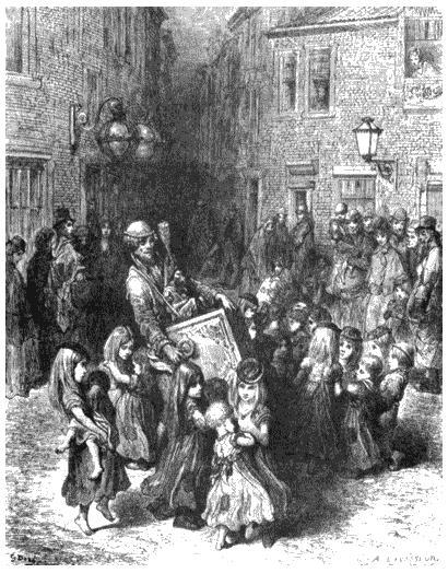Девочки из лондонских трущоб. Рисунок Гюстава Доре из книги «Паломничество». 1877