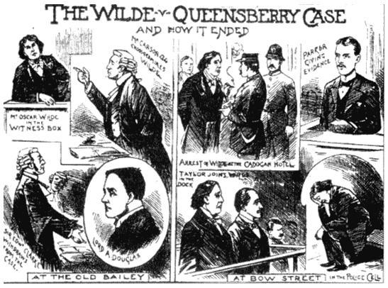 Уголовный процесс Оскара Уайльда. Рисунок из журнала «Иллюстрированные полицейские новости». 1895