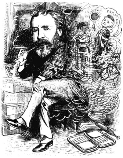 Генри Лабушер. Карикатура из журнала «Панч». 1881