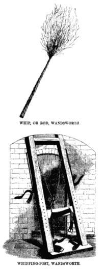 Розги и станок для порки в английской тюрьме – вероятно, прообраз «лошадки Беркли». Рисунок из книги Генри Мэйхью «Криминальные тюрьмы Лондона и сцена тюремной жизни». 1862