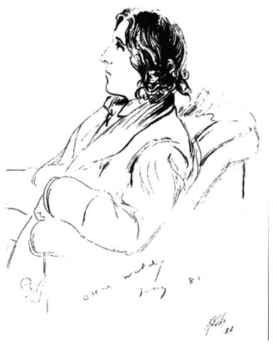 Оскар Уайльд в 1882 году. Рисунок Дж. Э. Келли