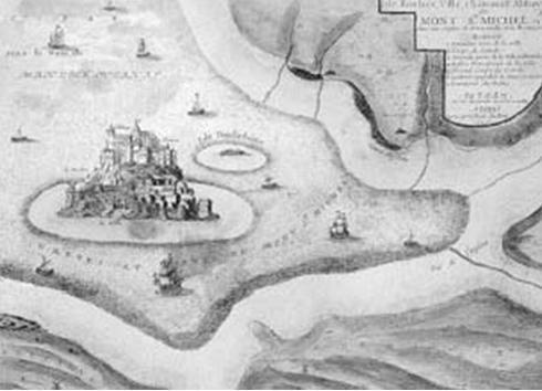 Иллюстрация из «Любознтельного атласа» Николя де Фера (1705 г.), на которой виден Сан8209;Мишель и о. Томбелен